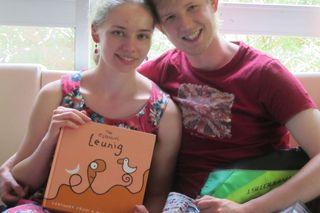 Olga & Callum with presents - 3